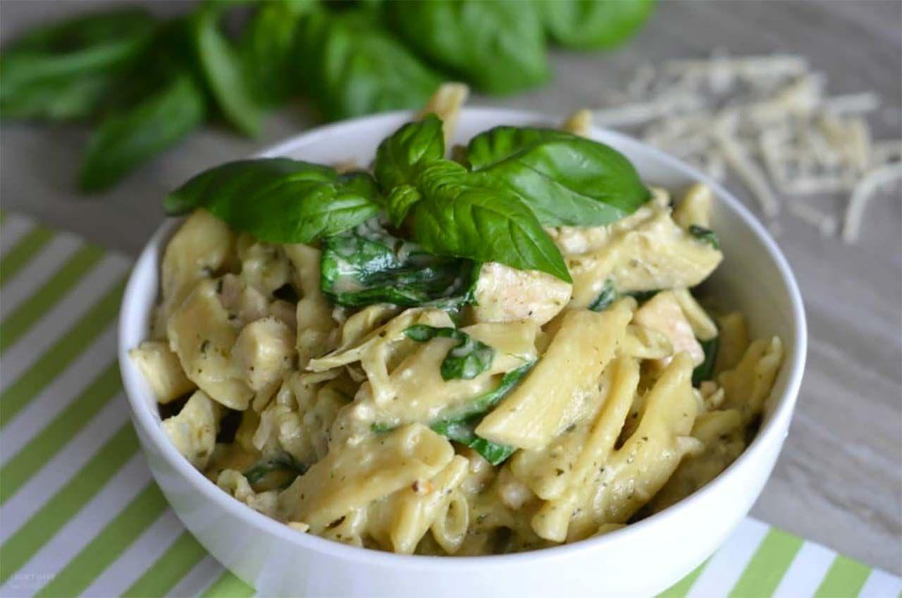 Chicken Spinach Artichoke Pesto Pasta