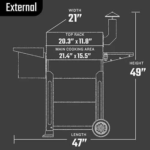 Z Grills L6002E Measurements